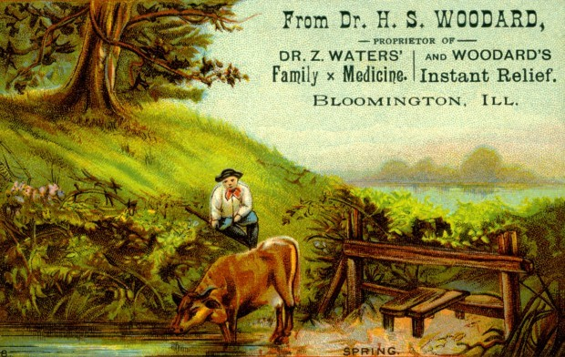 "An advertising card for ""Instant Relief"", a patent medicine manufactured by Waters and Woodard."