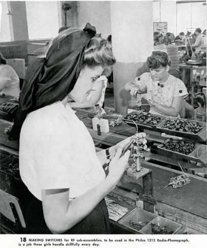 Women workers making switches to be used in the Philco 1213 Radio-Phonograph