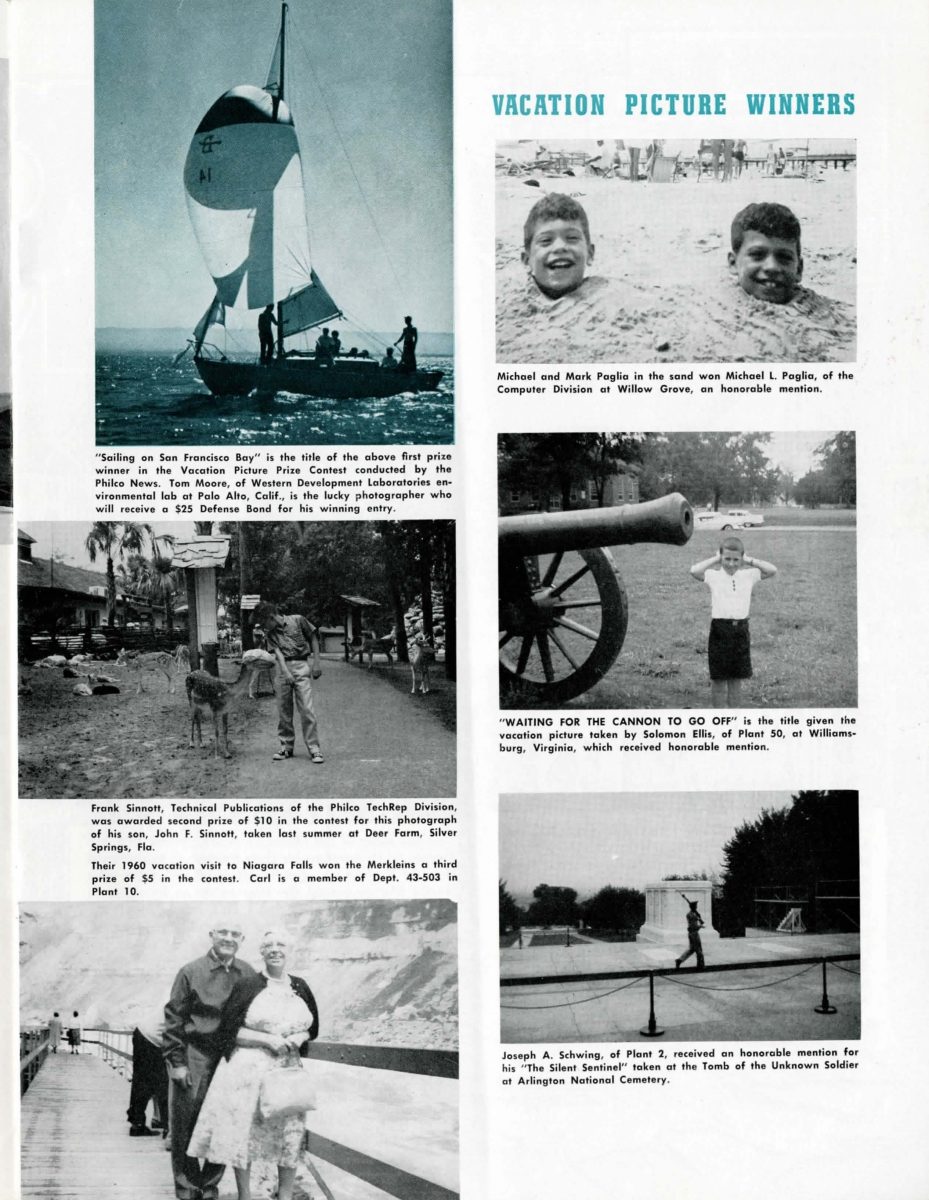 Philco employees photographs from their travels are highlighted
