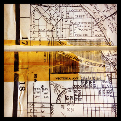 Yellowed tape on the 1942 Los Angeles map