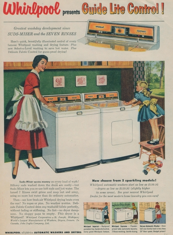 1954 Whirlpool Automatic Washer and Dryer advertisement