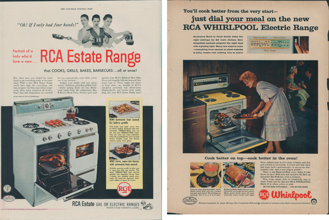 A1955 RCA Estate Range advertisement and a 1955 RCA Whirlpool Electric Range advertisement