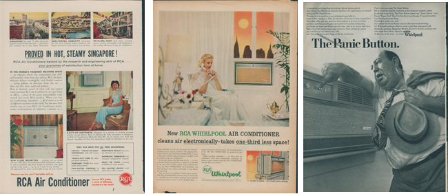 RCA and Whirpool air conditioning ads from the 1950's and '60s