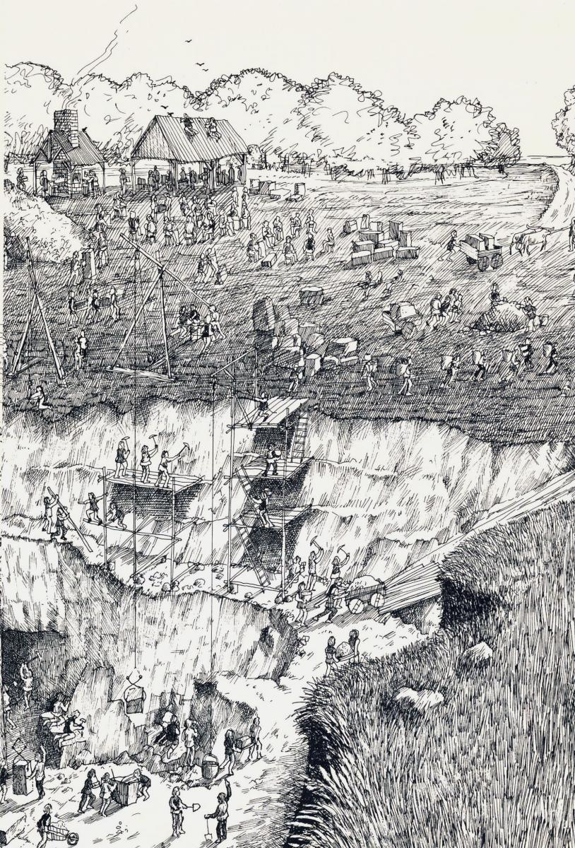 David Macaulay's pen-and-ink drawing details the laborious tasks in a limestone quarry.