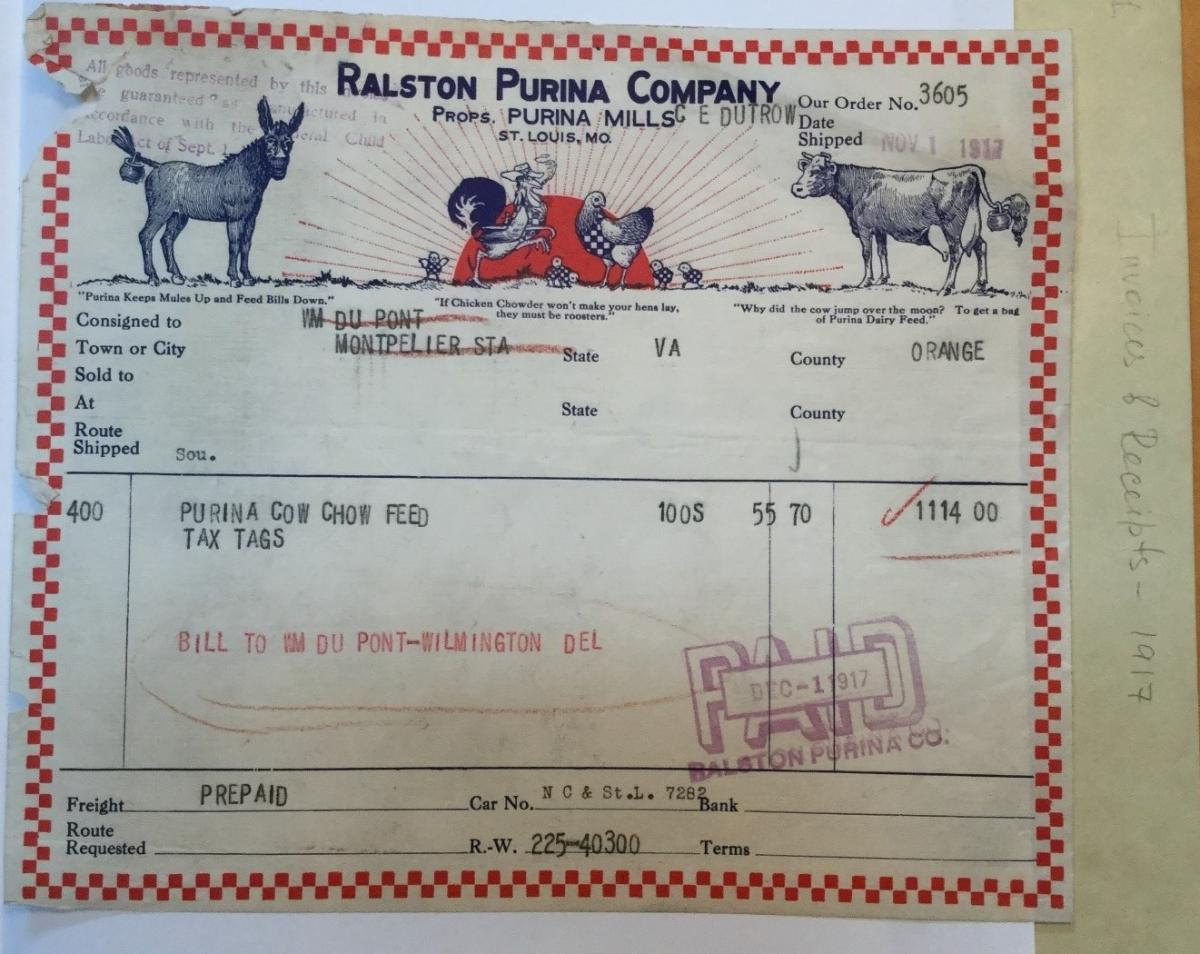 Invoice for Purina cow feed