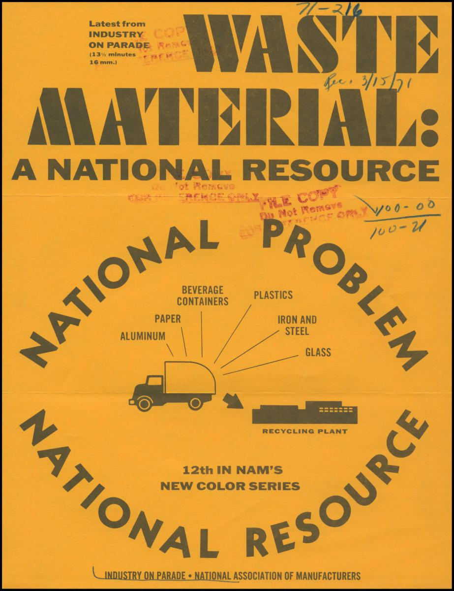 "Yellow and black poster for ""Waste Material- A national resource"""