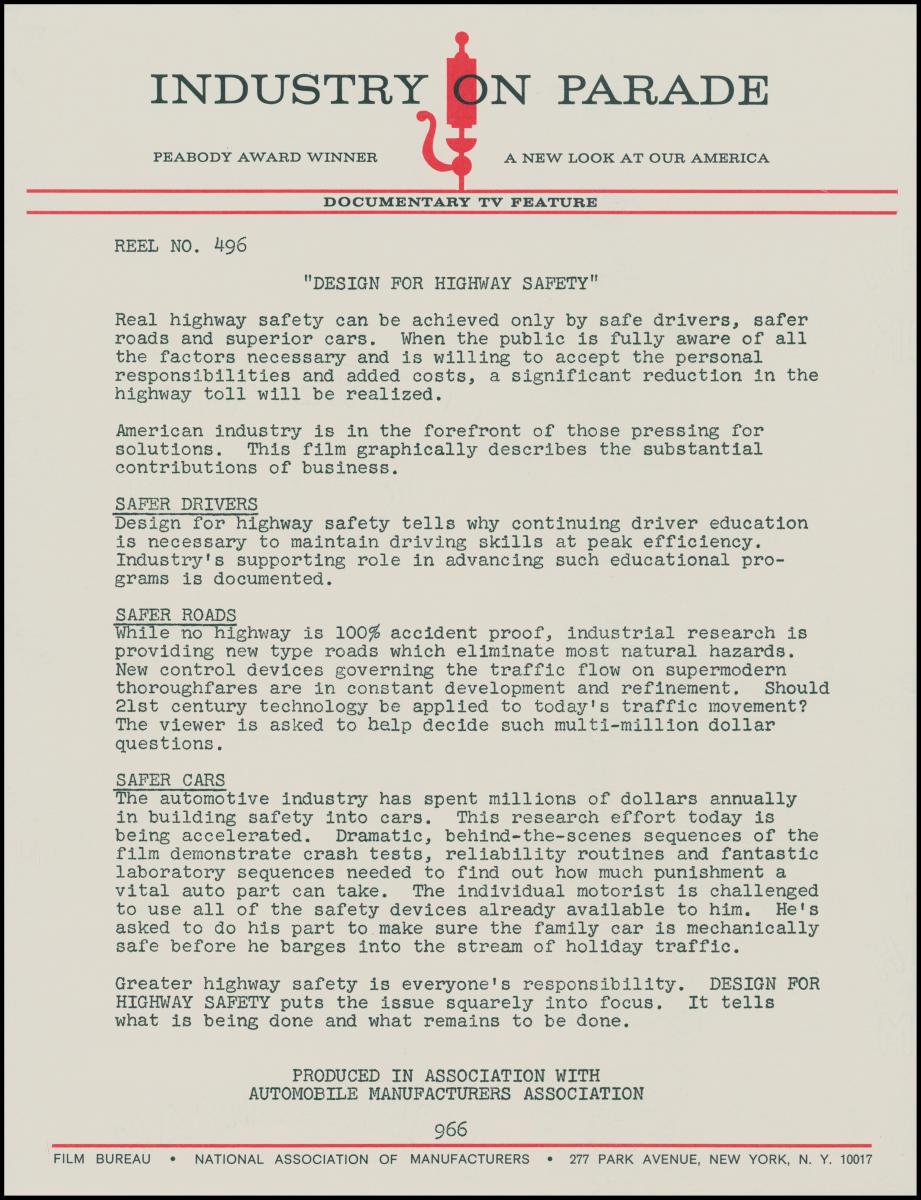 Typewritten information sheet for episode of Industry on Parade.