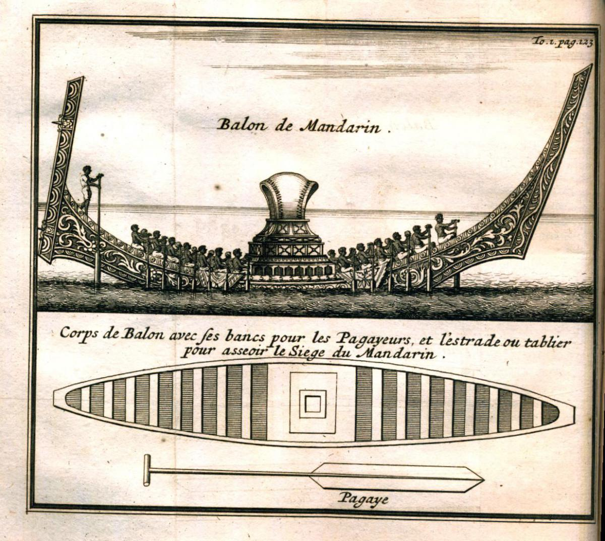 Drawing of the king's balon boat for 120 rowers.