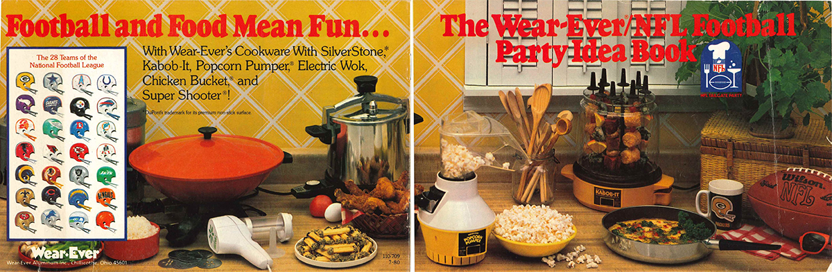 This is the front and rear cover for a promotional cookbook from Wear-Ever, 1980 – all of the products on these pages were designed by Johnson!