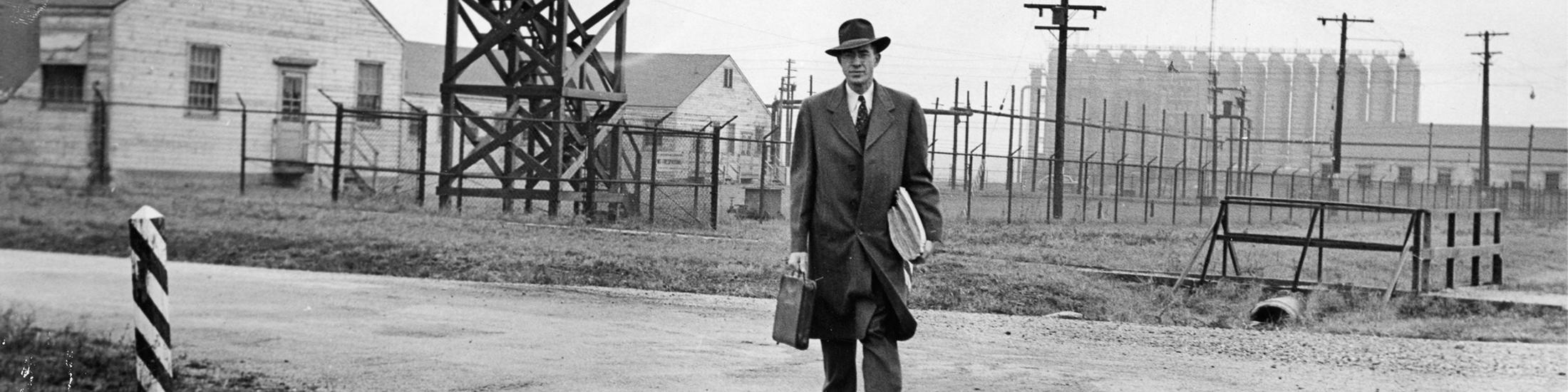Last man leaving the war plant, 1947