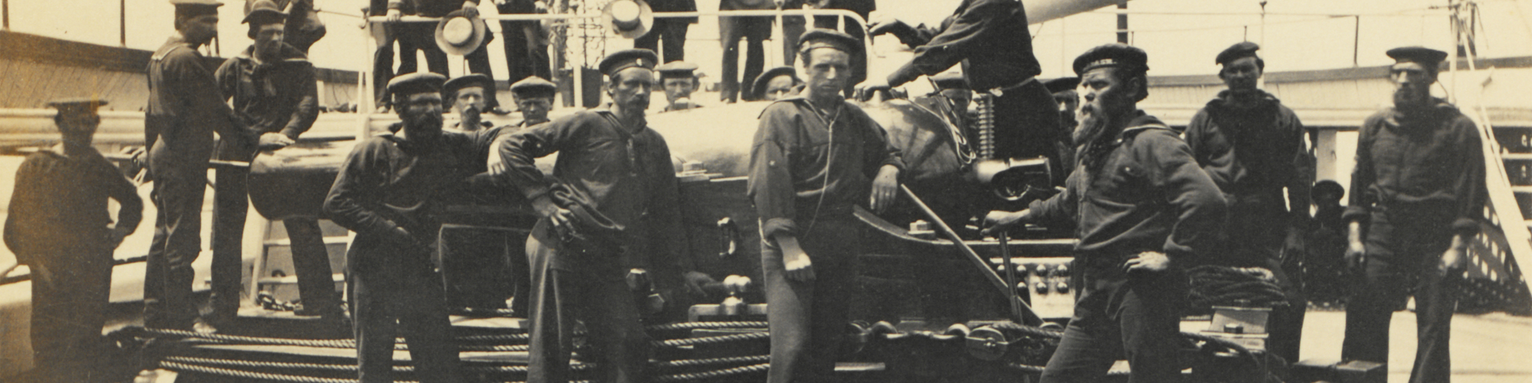 Civil War sailors on their ship