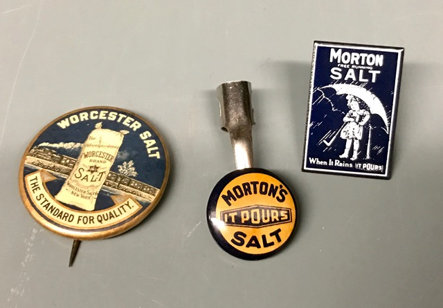 Worcester and Morton Salt pins