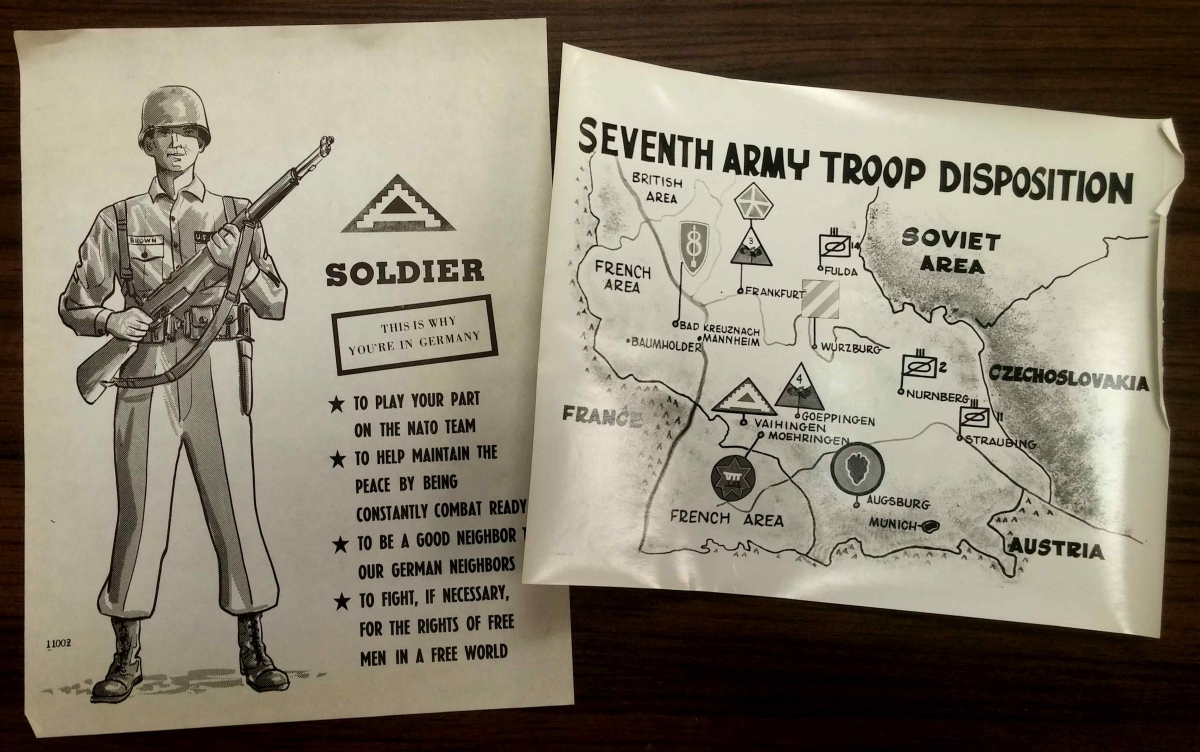 Cold War map and illustration of a soldier