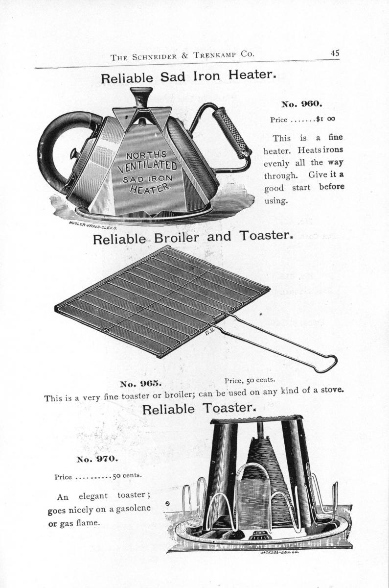 Illustrated catalogue page for iron heater.