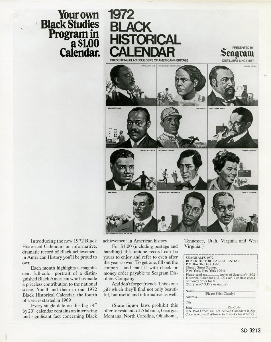 Seagram Black Historical Calendar