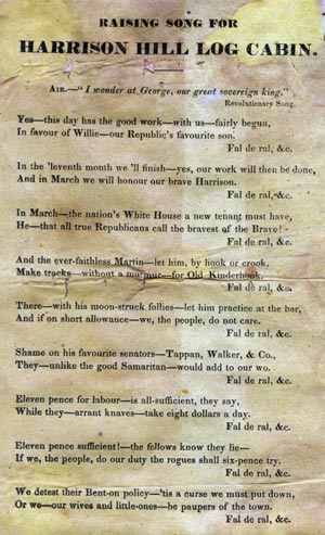 """A promotional card from the 1840 Log Cabin campaign. Printed on it is the """"Raising Song for Harrison Hill Log Cabin"""""""