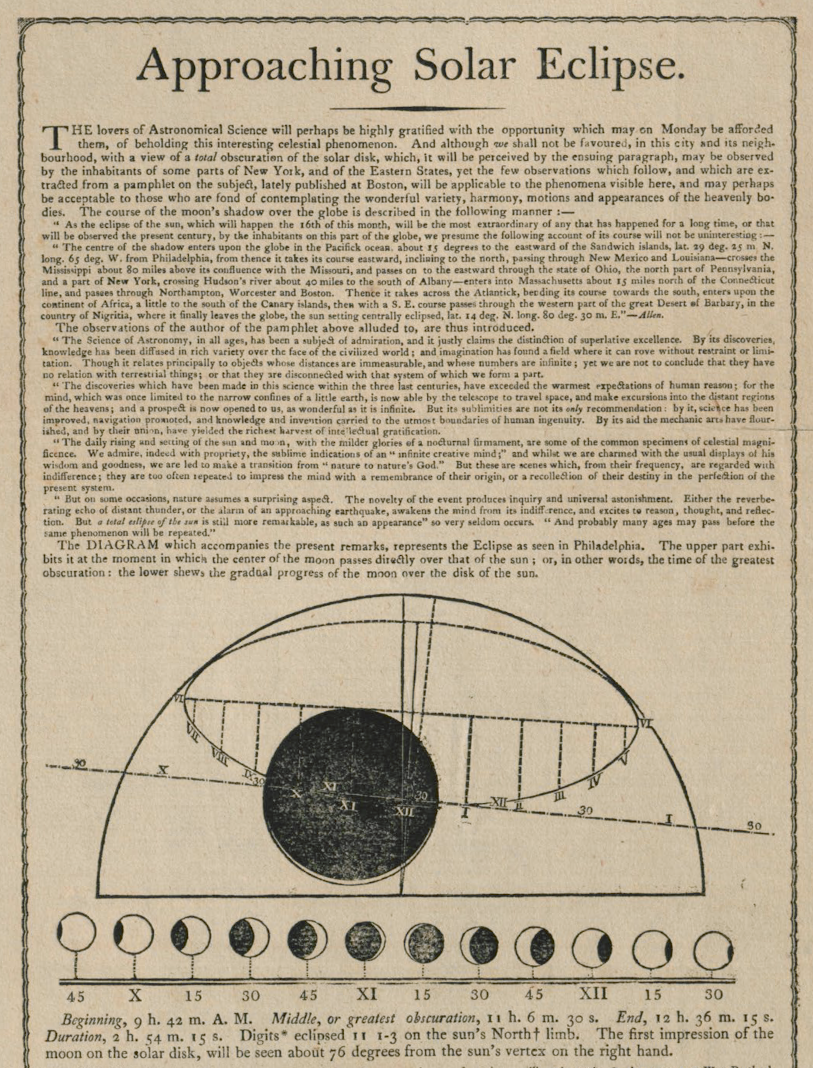 A pamphlet detailing the approaching solar eclipse. At the bottom are the timed phases.