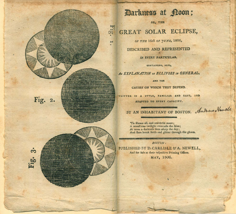 Pamphlet on solar eclipses showing the phases illustrated