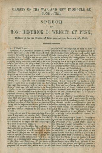 A printed version of Hendrick Wright's speech