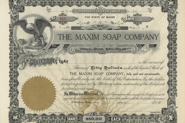 Maxim Soap Company Stock Certificate