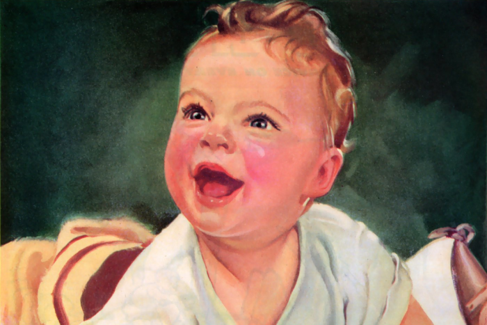 An illustration of a smiling baby