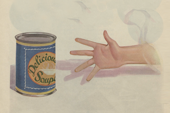 young boy reaching for a can of soup