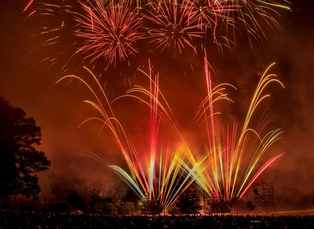 fireworks bursting in the air at hagley