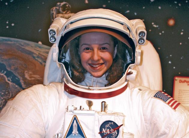 girl in a spacesuit at Hagley