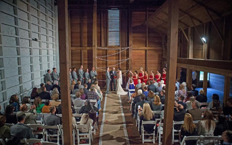 barn interior ceremony