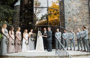 Wedding in front of Hagley