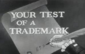 """Still from """"Your Test of a Trademark"""" DuPont commercial, 1953, Hagley Digital Archives."""