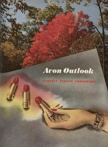 Image of Fall foliage and a woman's hand gesturing to red lipsticks. Color photo and illustration.