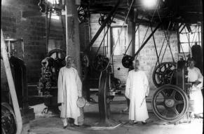 Black and white lantern slide showing lantern slide workers in the Imperial Chinese mint