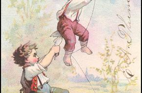 Advertising card with a color illustration of two children flying a kite from a spool of thread.