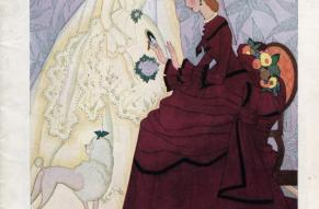 Catalog cover featuring a color illustration of two women in dresses - one appears to be a wedding dress.
