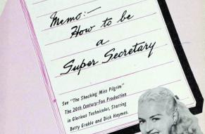 Cover for a pamphlet featuring a secretary at a desk, with title on an illustration of a memo pad.