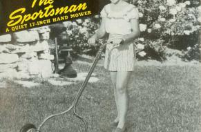 """Black and white photograph of a woman using a hand mower, which text identifies as """"The Sportsman""""."""
