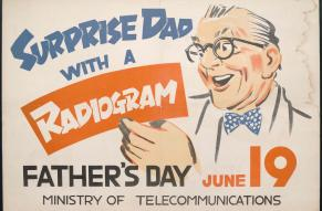 Poster encouraging American and other servicemen in occupied Japan to send telegrams, radiograms, and to make telephone calls for American holidays. Poster shows a man with white hair, glasses, and a bow tie receiving a radiogram. The radiogram is print