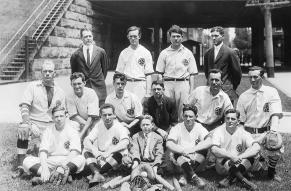 Black and white group portrait of the Pusey and Jones Company baseball team