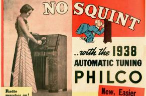 """Ad for a radio featuring automatic tuning, with """"No squat, no stoop, no squint"""" promise."""