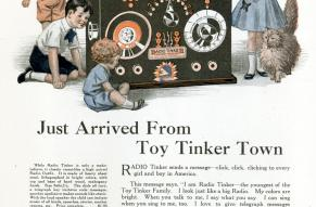 Advertisement for 'Radio Tinker' with a color illustration of small children playing with a large, make-believe radio. Accompanying text describes what the toy does.