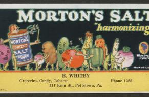 Color illustration of anthropomorphic vegetables and salt canister singing in harmony.