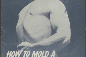 """Cover of a """"How to Mold a Mighty Chest', featuring a black and white photo of a shirtless man."""