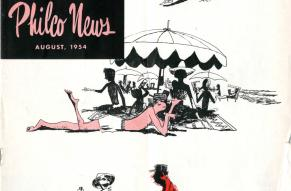 August 1954 cover of Philco News magazine. Partial color illustrations show a family arriving at, enjoying, and leaving a beach, with the father figure getting progressively more sunburned.