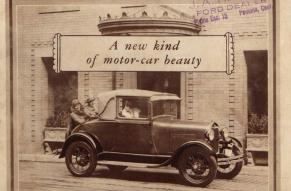 """Cover of a Ford catalog titled """"A new kind of motor car beauty"""", with black and white photograph of a Ford automobile with passengers and a driver."""