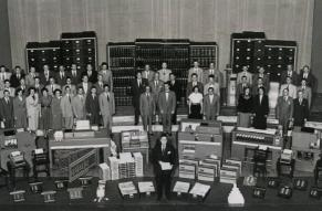 Archival image of DuPont Company accounting staff and equipment, 1950.