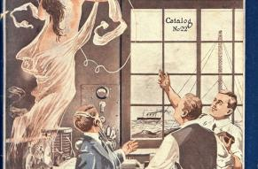 Catalog cover showing men in a laboratory being visited by a female spirit personifying technology.
