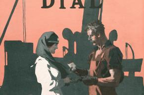 Color illustration of a man buying a wartime bond from a woman in a nursing uniform.