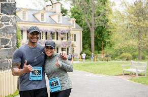 two people in front of hagley residence at hagley 5k run/walk