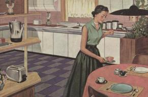 Woman in 1950s style kitchen